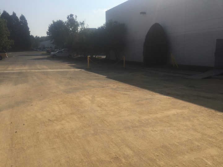 Before Pressure Washing Parking Lot